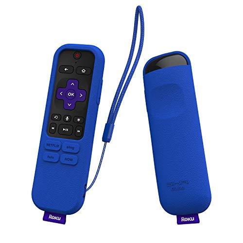 SIKAI Capa de silicone para controle remoto por voz Roku Streaming Stick+ 3800R/3810R Enhanced Voice Remote, capa protetora à prova de impactos, antiperda, com alça