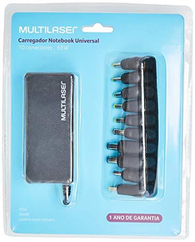 Multilaser CB082 Carregador Notebook Compacto 65W Automático 10 Conectores, Preto