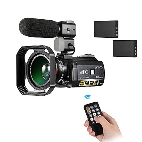 Miaoqian AC3 4K WiFi câmera de vídeo digital filmadora DV gravador 24MP 30X zoom IR 3,1 polegadas IPS LCD touchscreen com 2pcs baterias recarregáveis + extra 0,39X lente grande angular + externo