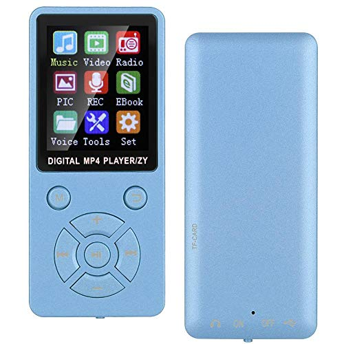 Reprodutor de música, botões de táticas de oito diagramas, MP3 Player, Bluetooth 4.2 para alunos amantes de música(blue)